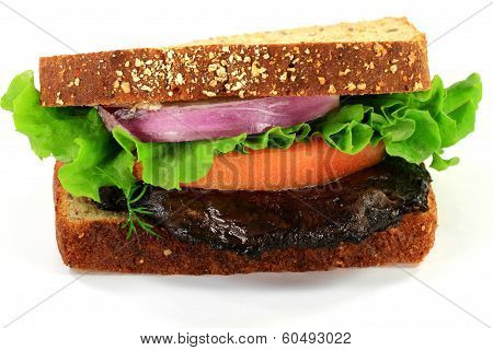 Vegetarian Sandwich With Grilled Mushroom.
