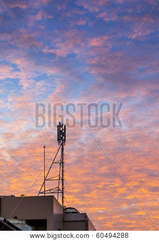 Telecom Tower With  Golden Cloud