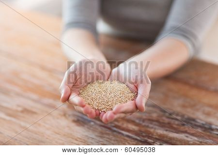 cooking and home concept - cloes uo of female cupped hands with quinoa