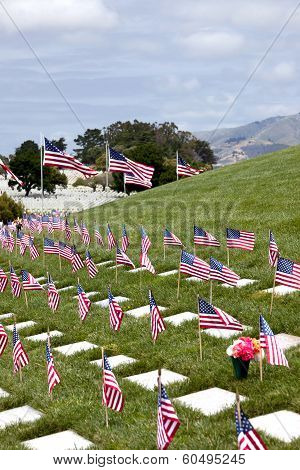 American Flags And Headstones At United States National Cemetery