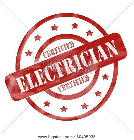 Red Weathered Cerfified Electrician Stamp Circles And Stars