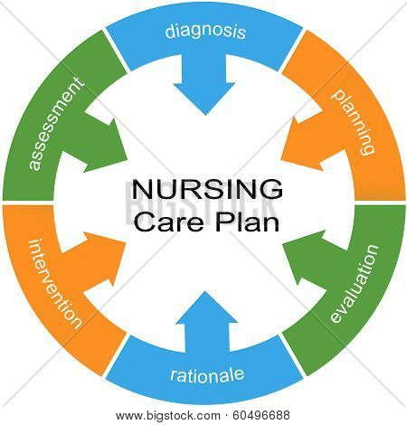 Nursing Care Plan Word Circle White Center Concept