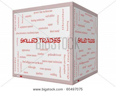 Skilled Trades Word Cloud Concept On A 3D Cube Whiteboard