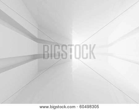 Abstract White Room Interior With Glowing Doorway. 3D Render