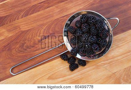 Strainer with Blackberries