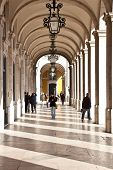 Lisbon, Portugal - February 01, 2013: Arcades of the famous Comercio Square, one of the landmarks of