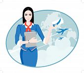 stock photo of air hostess  - Air Travel - JPG