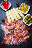 image of cheese platter  - Antipasti and catering platter with different meat and cheese products - JPG