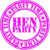 image of bachelor party  - Grunge hen party rubber stamp - JPG