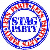stock photo of bachelor party  - Grunge stag party rubber stamp - JPG