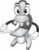 foto of microscope slide  - Mascot Illustration Featuring a Microscope Holding a Slide with a Specimen - JPG