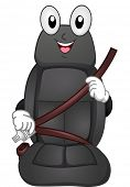 Mascot Illustration Featuring a Car Seat Putting a Seatbelt on