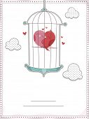 Invitation Card Illustration Featuring Lovebirds Cuddling Inside a Cage