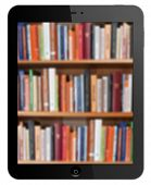 library in black tablet on white background