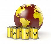 image of courtesy  - a group of protective capsules for a radioactive source with a world globe concept of nuclear energy - JPG