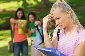 pic of peer-pressure  - Female student being bullied by other group of students - JPG