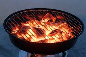 stock photo of flame  - Grill pot with flame preparation for barbecuing - JPG