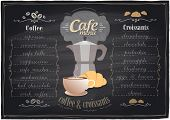 Vintage chalk coffee and croissants menu, chalkboard background. Eps10