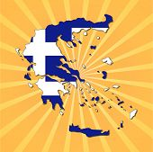 Greece map flag on sunburst vector illustration
