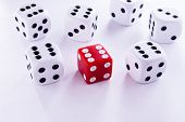 pic of dice  - groped their luck rolling the dice game - JPG