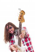 Musician With Face Expression Playing Electric Bass Guitar