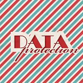 Data Protection Concept on Striped Background.