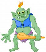 foto of troll  - Big fat troll with cudgel - JPG