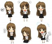 stock photo of polite girl  - Cute Thai college student emotional icon set created by vector - JPG