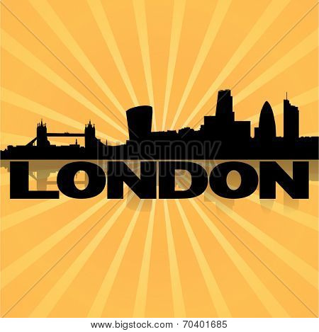 London skyline reflected with sunburst vector illustration