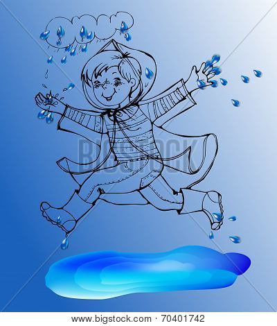 Sketch Boy under rain spring jump in the puddles