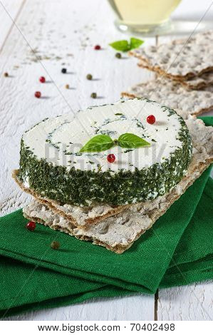 Crisp Bread And French Cheese With Provencal Herbs
