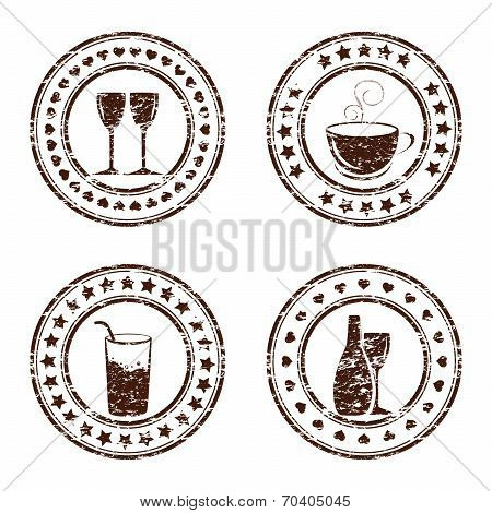 Vector Illustration Of Set Of Grunge Beverage Stamps