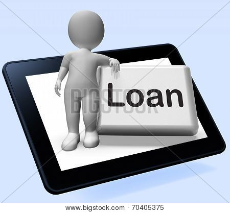 Loan Button Tablet With Character  Means Lending Or Providing Advance