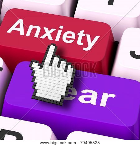 Anxiety Fear Keys Mouse Means Anxious And Afraid