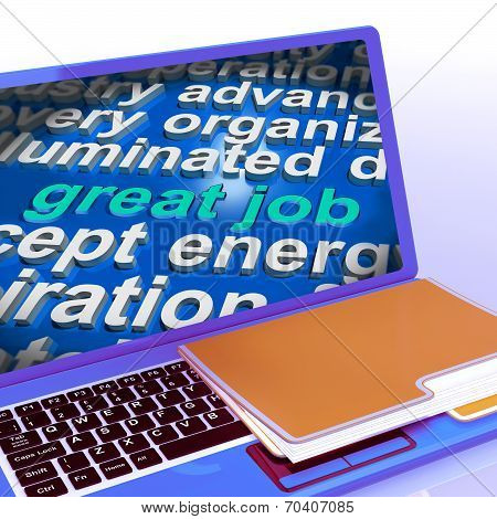 Great Job Word Cloud Laptop Shows Praise Appreciation Or Approval