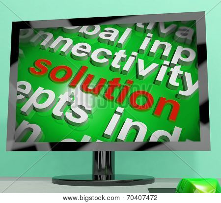 Solution Word Screen Cloud Shows Achievement Resolution Solving And Solved