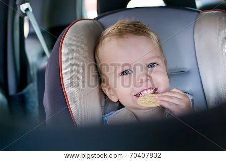 Happy Toddler Boy In Car