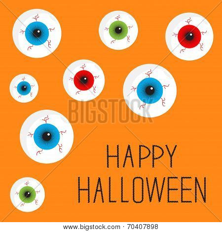Eyeball Set With Bloody Streaks. Happy Halloween Card. Flat Design Style.