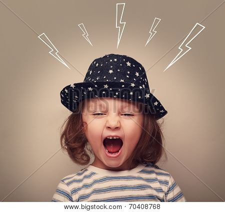 Shouting Angry Small Kid With Open Mouth And Lightnings Above