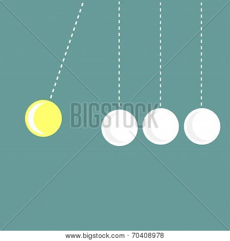 Four Hanging Round Balls. White And Yellow. Perpetual Motion.