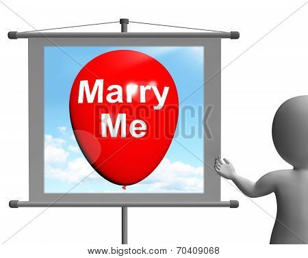 Marry Me Sign Represents Lovers Proposed Engagement