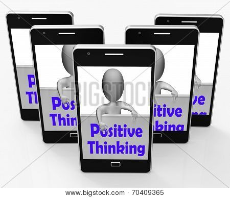 Positive Thinking Sign Shows Optimistic And Good Thoughts