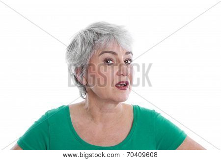 Isolated Disappointed Mature Woman Wearing Green Shirt Looking Angry.