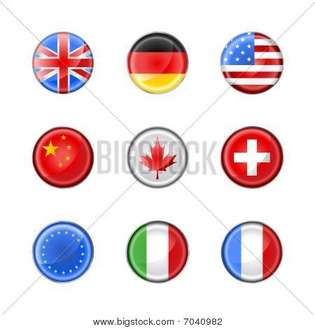 Round Buttons Set-flags