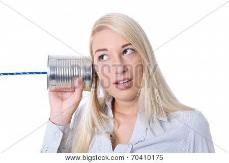 Communication Or Advertising Concept: Young Isolated Woman Calling With Tin Can.