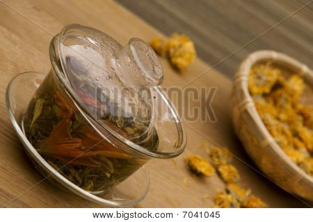 Chinese Green Tea with Flowers