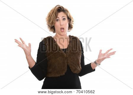 Furious Shocked And Crying Isolated Middle Aged Business Woman Isolated Over White.