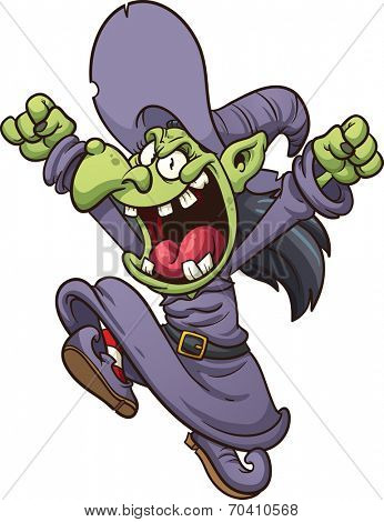 Evil cartoon witch jumping. Vector clip art illustration with simple gradients. All in a single layer.