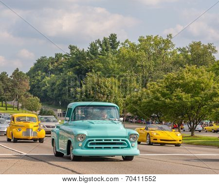 Corvette And Two Vintage Vehicles At The Woodward Dream Cruise