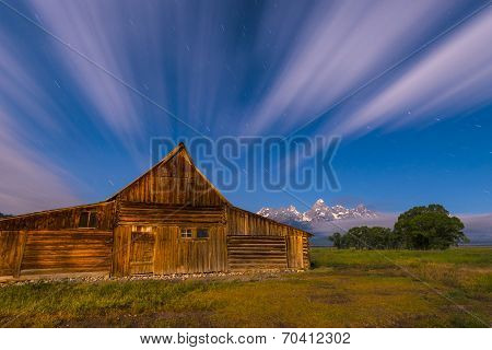 Dramatic Night Sky At Mormon Row With View At Grand Teton
